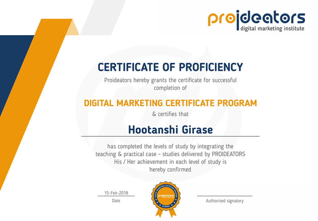 Proideators Digital Marketing Course Institute Certificate
